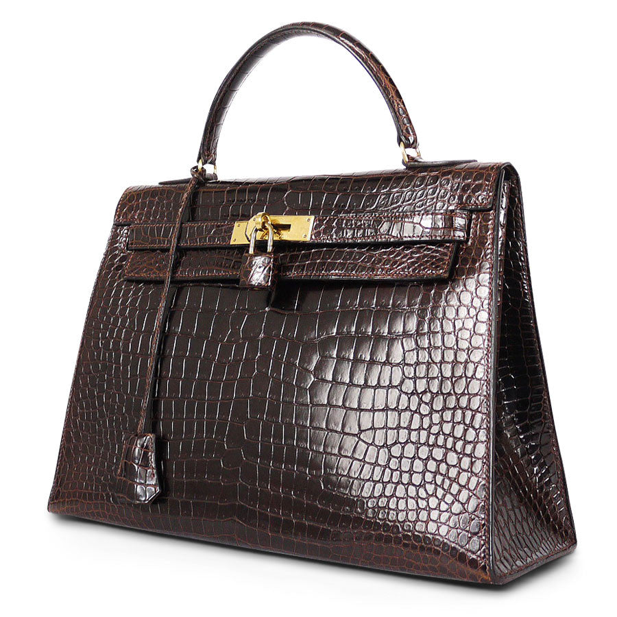 Hermes Sellier32 Crocodile Kelly Bag Gold Hardware Vintage | Garo ...