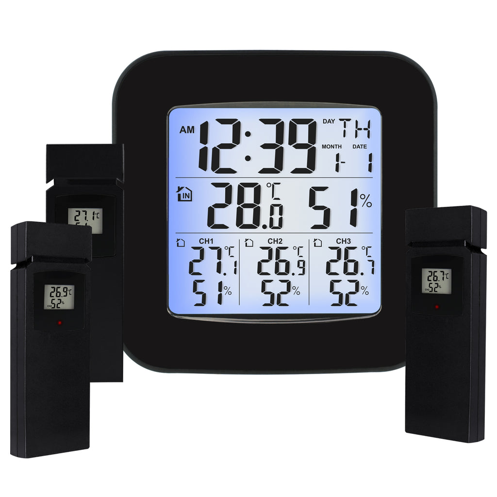 WSTK-85 Digital Weather Station Thermometer Hygrometer 3 Indoor/ Outdoor Wireless Sensors-Tekcoplus Ltd.
