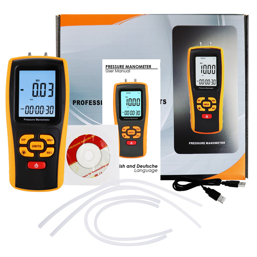 TK277PLUS Manometer Air Pressure Meter Differential Air Pressure Gauge HVAC Tester