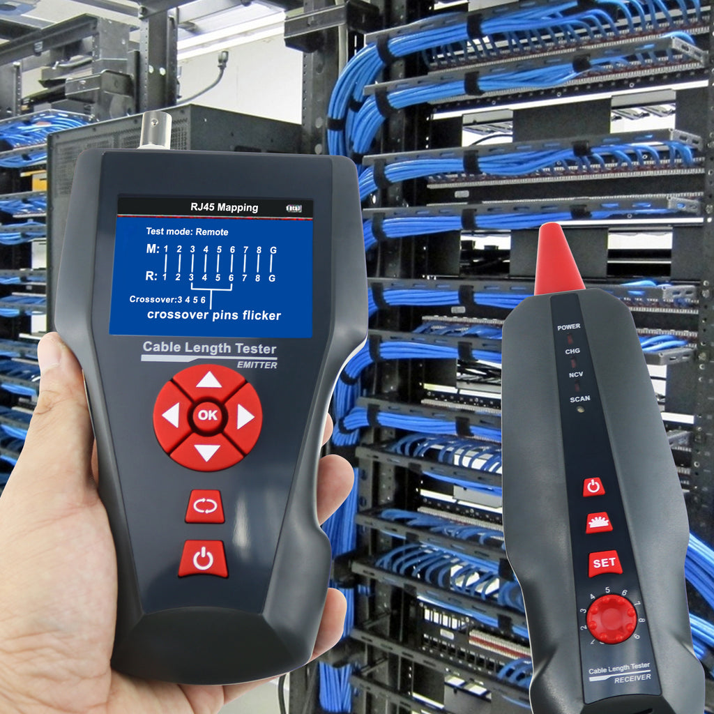 CTTK-62 Cable Length Tester Mapping Function Wire Tracker RJ45 RJ11 BNC Coax Network POE PING Test-Tekcoplus Ltd.