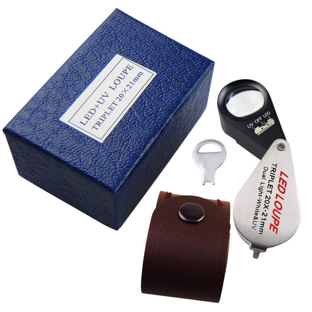GSTK-119 Jeweler Loupe 20X Magnification with LED & UV light 21mm Lens Gemological Testing-Tekcoplus Ltd.