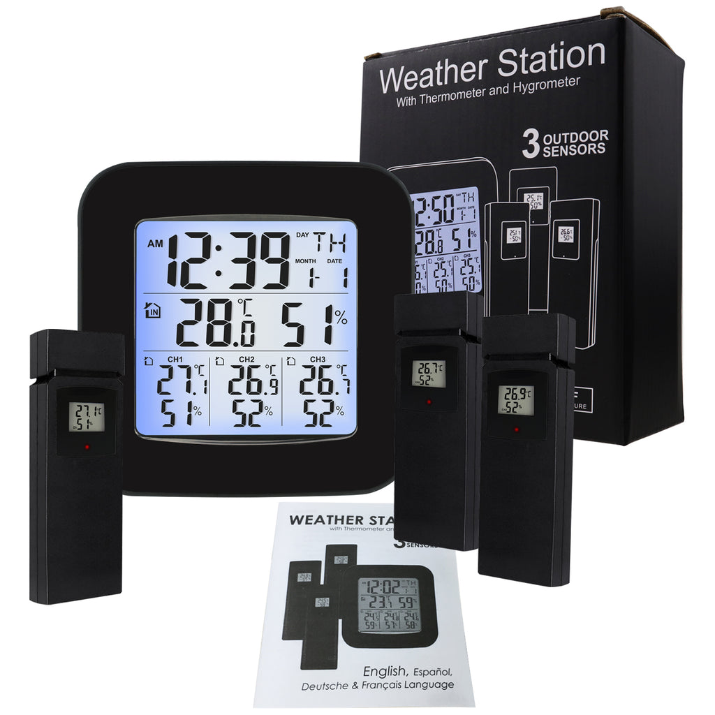 WSTK-85 Digital Weather Station Thermometer Hygrometer 3 Indoor/ Outdoor Wireless Sensors