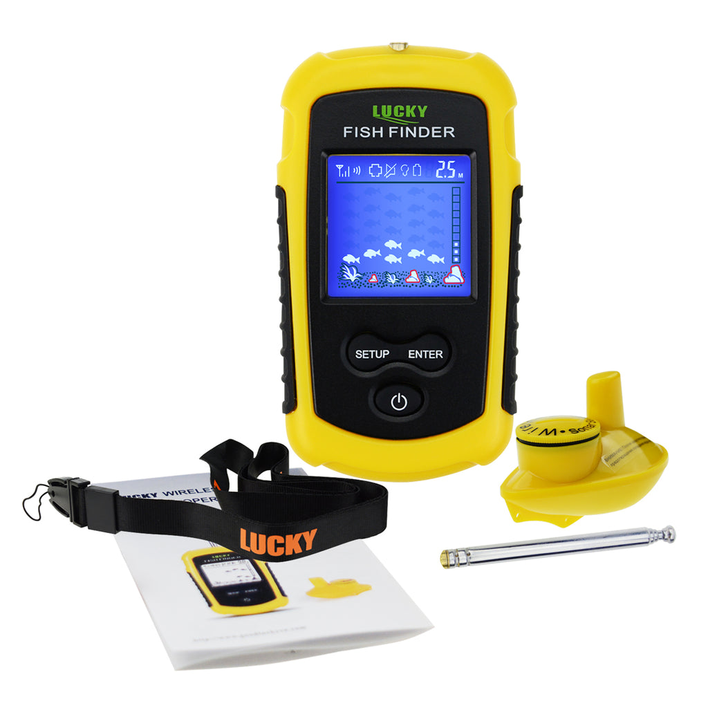 FFCW-1108-1 LUCKY Wireless Fish Finder TN/ Anti-UV LCD Display with Backlight for Night Fishing