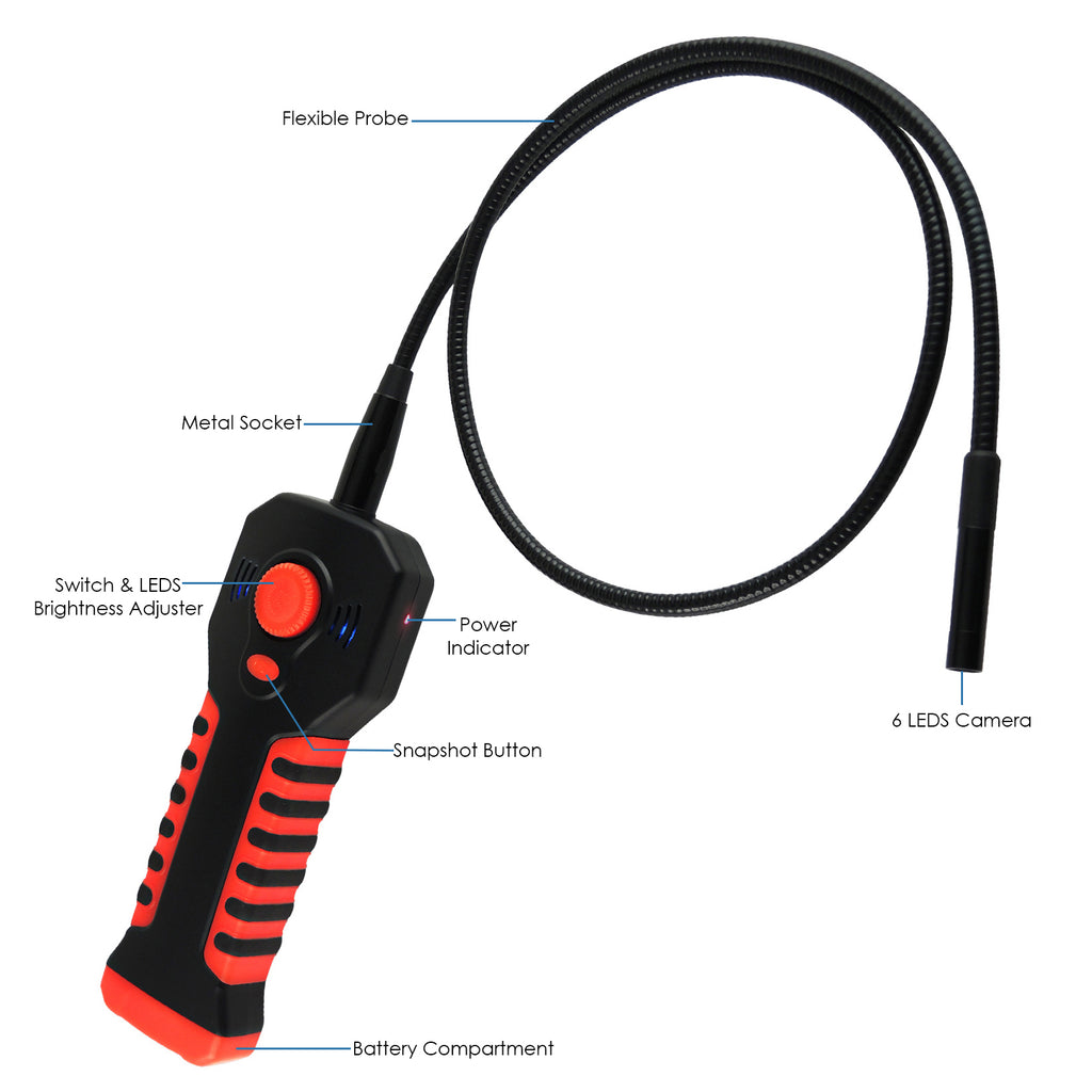 ICTK-798 Wireless WIFI Handheld Endoscope Borescope Inspection Camera iOS/ Android HD 20M Wifi Range