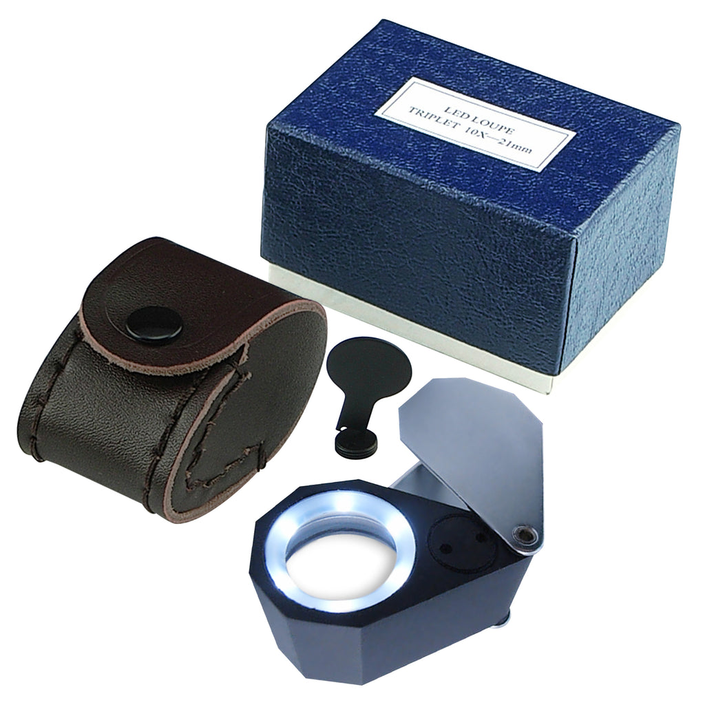 GSTK-781 Jeweler Loupe 10X Magnification Magnifier 6 LED light, 21mm lens Jeweler Gem Tester Tool-Tekcoplus Ltd.