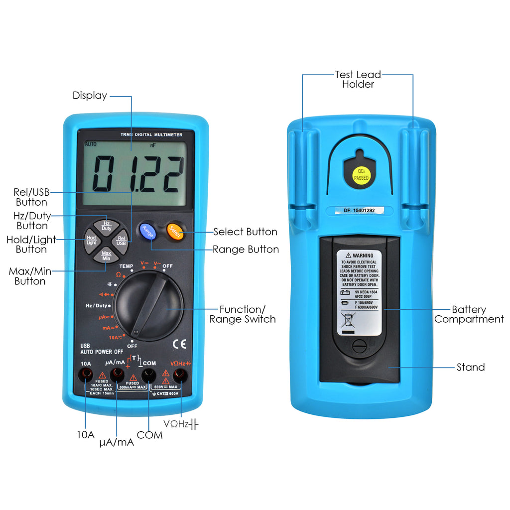AUTK-1038 Multimeter DMM True RMS TRMS Auto-Ranging w/ USB Interface-Tekcoplus Ltd.