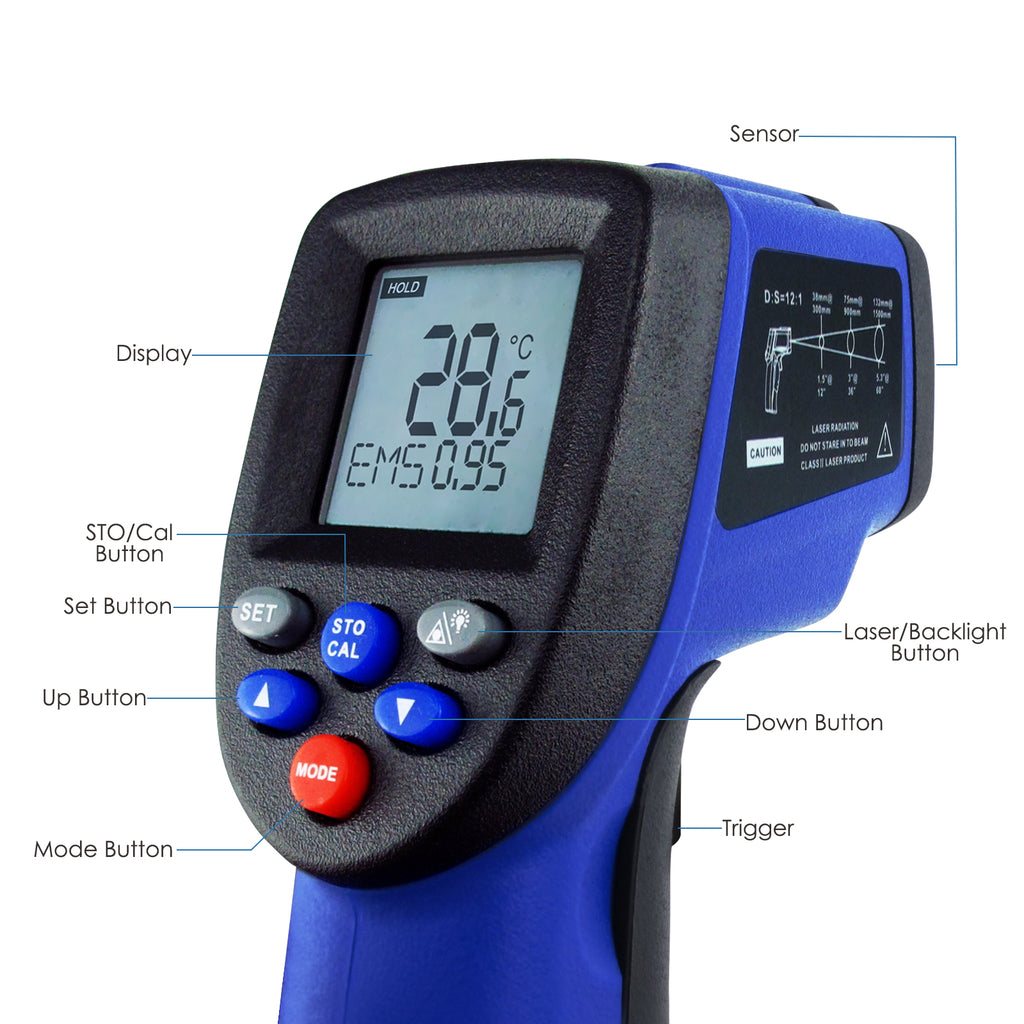 THTK-176 Infrared (IR) Laser Thermometer -50~950°C(-58~1742°F) Temperature Tester
