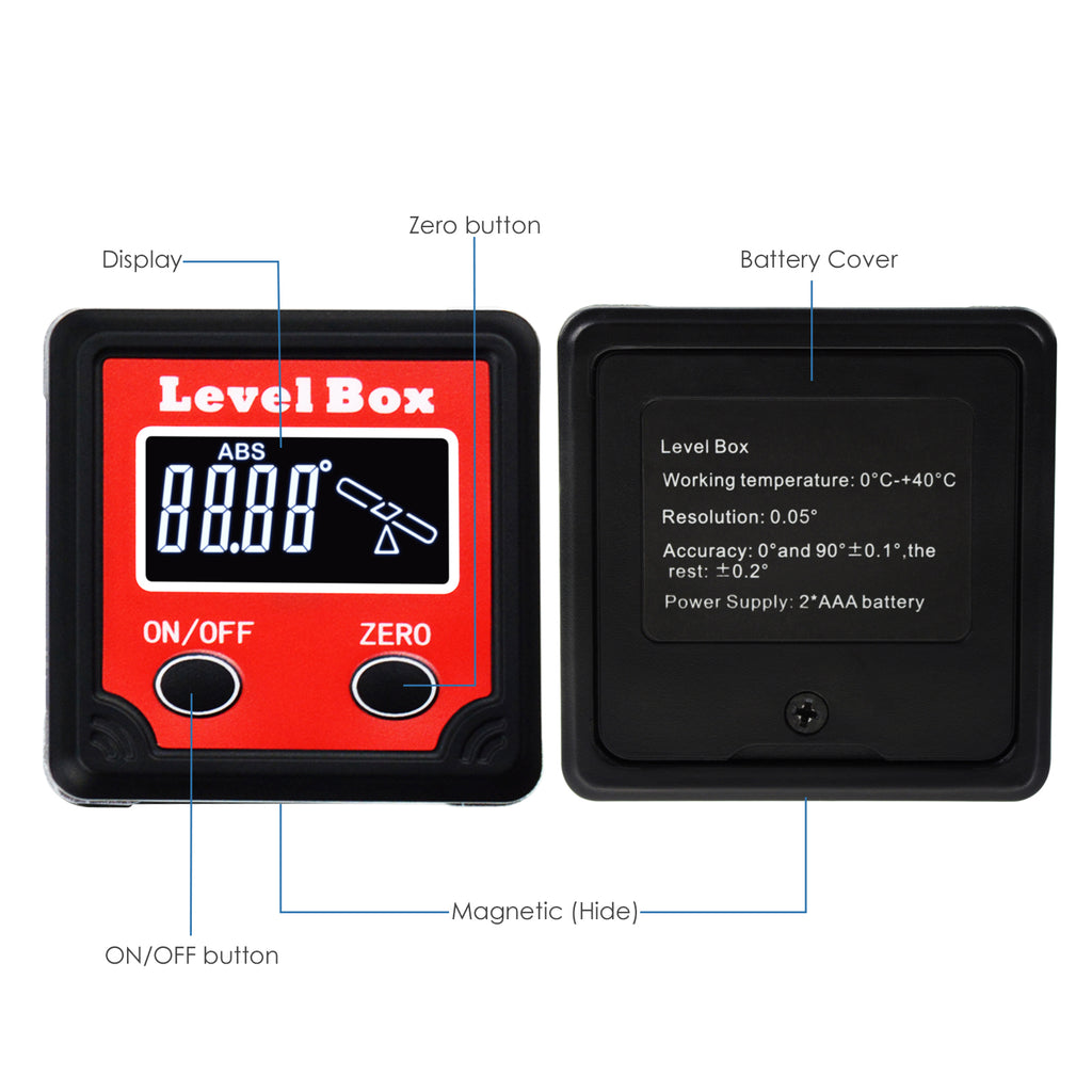 TEK-260 Digital Bevel Box Angle Measurement Tool with Magnetic Base 0.05° Resolution Pre-calibrated