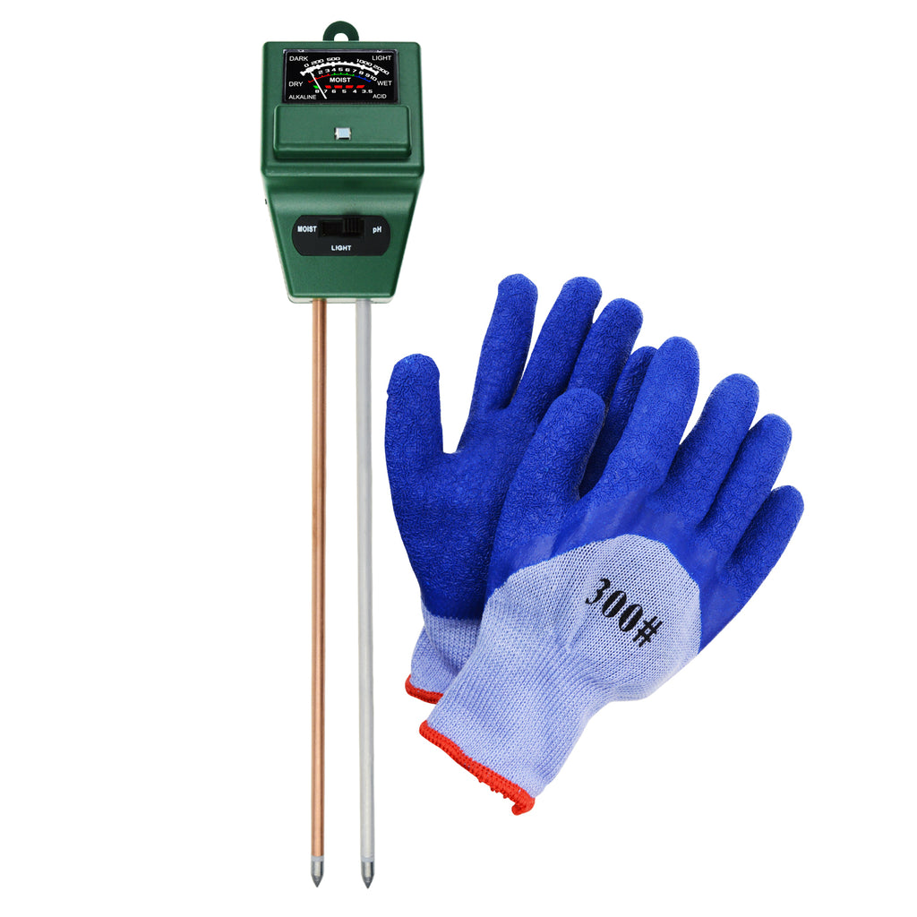 TEK-256_GLOVE Indoor Outdoor Soil pH, Moisture & Light Meter with FREE Gloves Gardening Farming Soil-Tekcoplus Ltd.