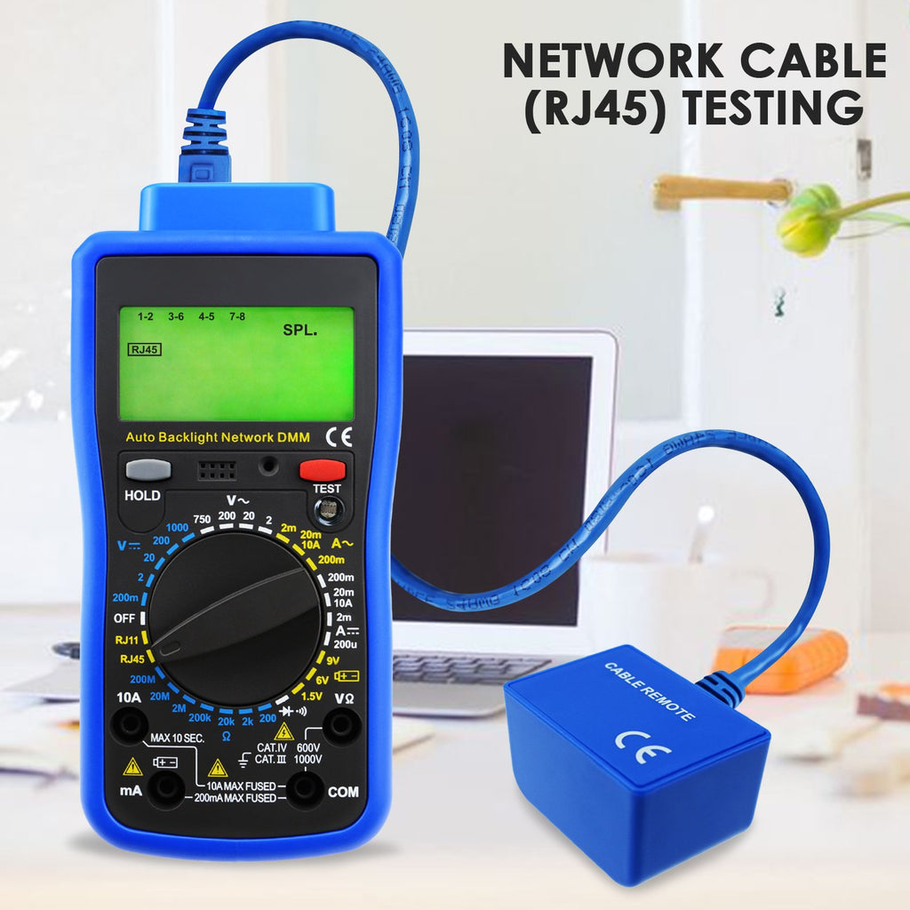 Digital Network Multimeter Cable Tester Acv Dcv Dca Aca Rj45 Rj11 Test Car Fuse Box Mutk 213 Telephone Line Ac