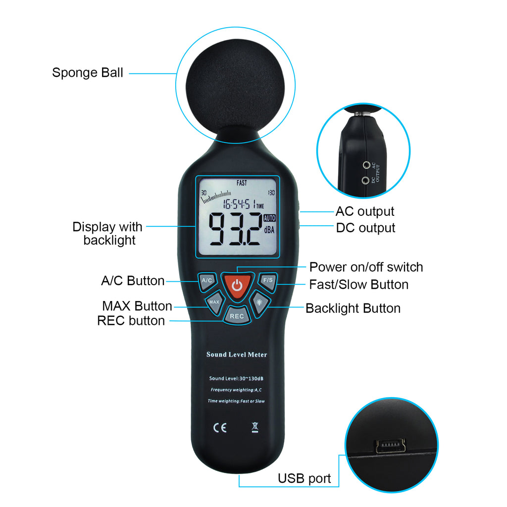 SLM25TK Sound Level Meter with Data Logging Function Measure 30dB~130dB and CD Software