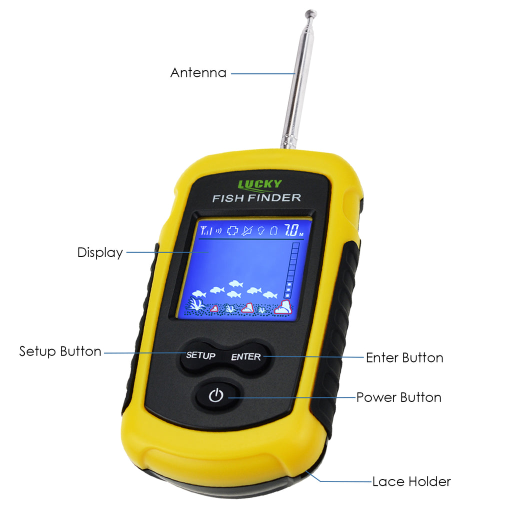 FFCW-1108-1 LUCKY Wireless Fish Finder TN/ Anti-UV LCD Display with Backlight for Night Fishing-Tekcoplus Ltd.