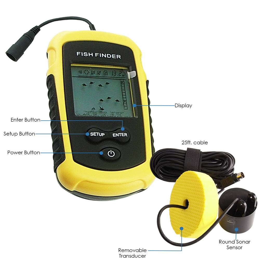 FF-1108-1 LUCKY 100M Fishfinder Sonar Transducer 12M Cable for Boat, Kayak, Ocean, Ice, Lake Fishing-Tekcoplus Ltd.