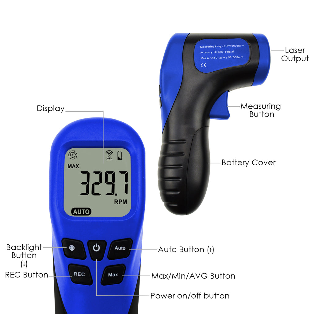 TATK-187 Digital Laser Non-Contact Tachometer Handheld Rotational Speed Measuring Gun, 2.5-99999 RPM-Tekcoplus Ltd.