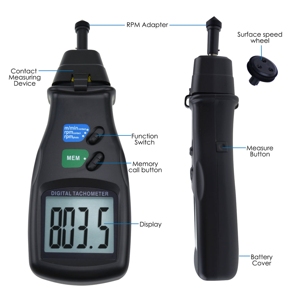 TATK-745 Digital Laser Photo Tachometer 2in1 Non-Contact & Contact RPM Gauge Tester-Tekcoplus Ltd.