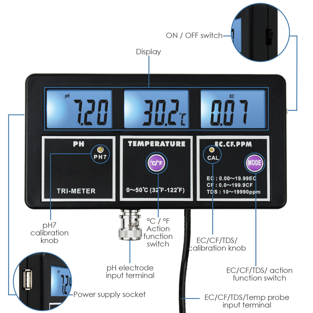 PHTK-242 pH EC CF TDS (ppm) Temperature Meter Water Quality Tester Wall-mountable Rechargeable-Tekcoplus Ltd.