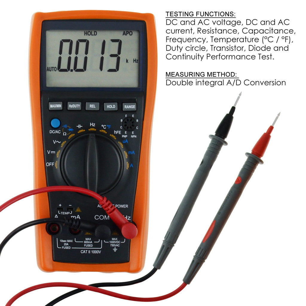 MUTK-873 Digital Multimeter Auto-& Manual-Ranging with K-Type Thermocouple  6000 Counts