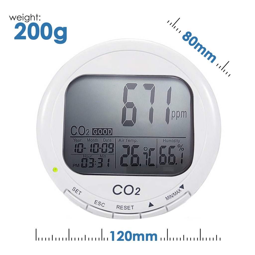 COTK-114 Carbon Dioxide CO2 Meter Data Logger Temperature Humidity Monitor 9999ppm-Tekcoplus Ltd.