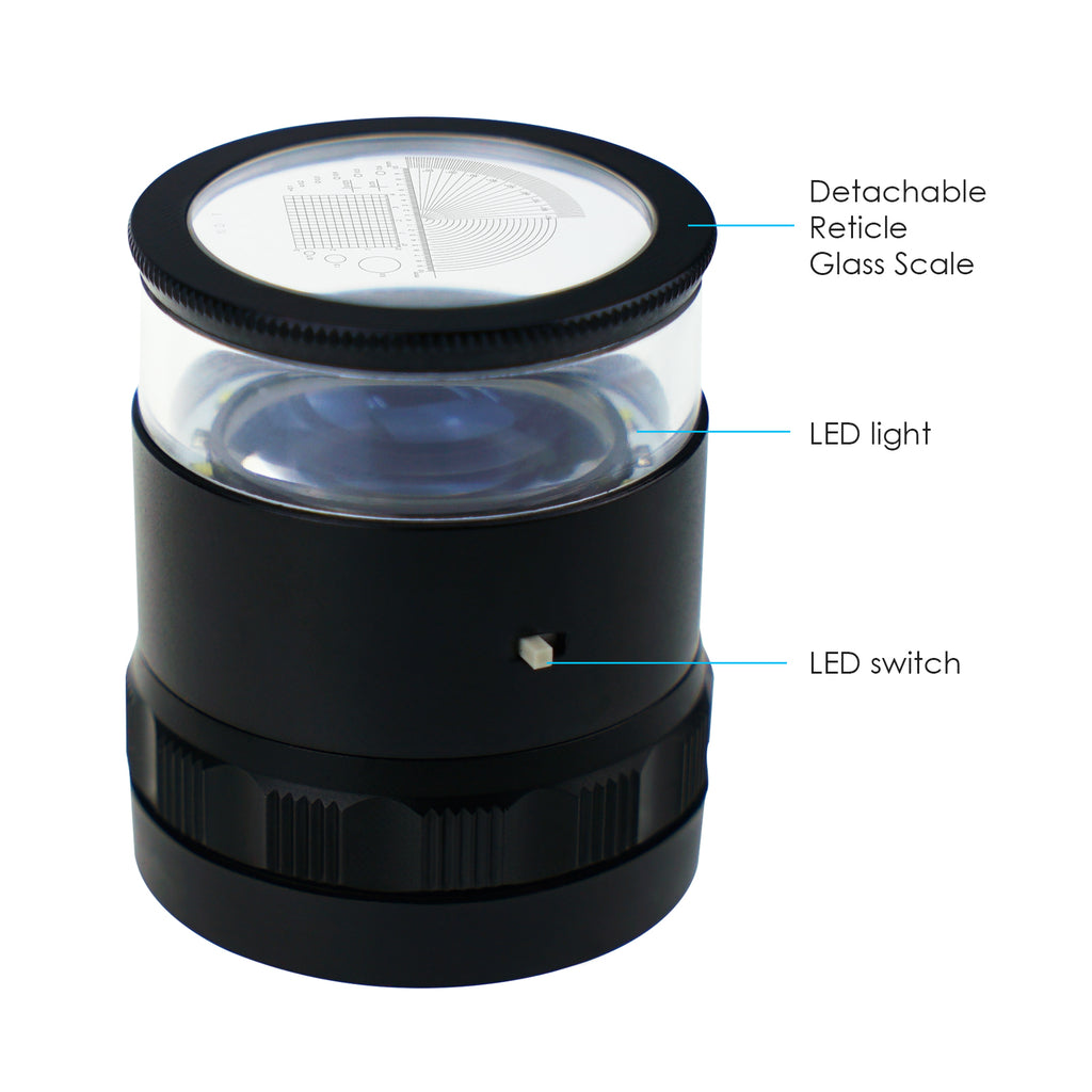 GSTK-93_LED+3 Scale Loupe 10x Magnification 4 Scale Chart with 8 LED Light 25mm Field of View Magnifier