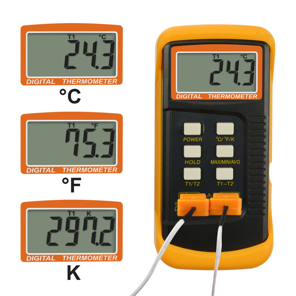 THTK-830_2P K-Type Thermometer 4 Thermocouples 2 Channels -50~1300°C (-58~2372°F)-Tekcoplus Ltd.