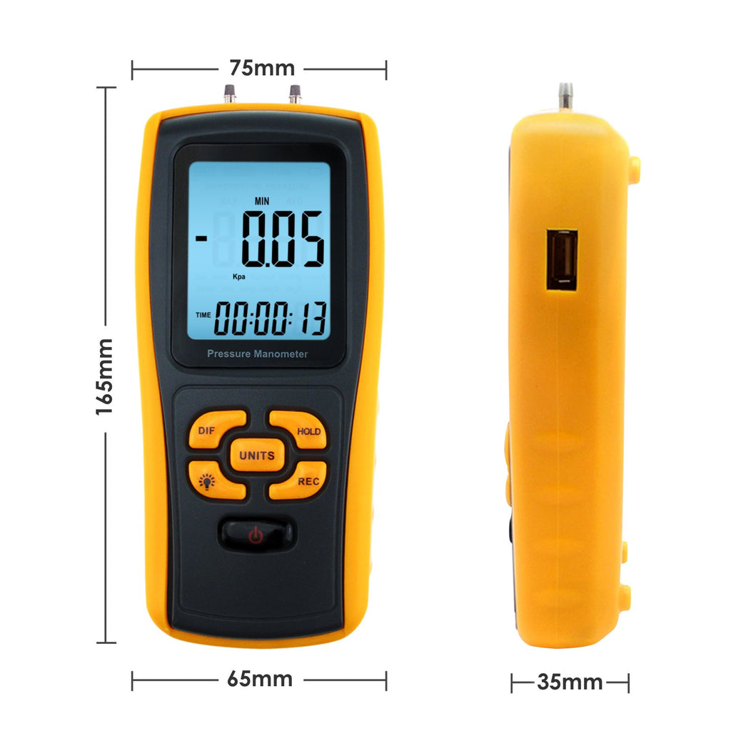 MATK -819 Digital Manometer with USB Interface, Differential Pressure Gauge Air Pressure Instrument-Tekcoplus Ltd.