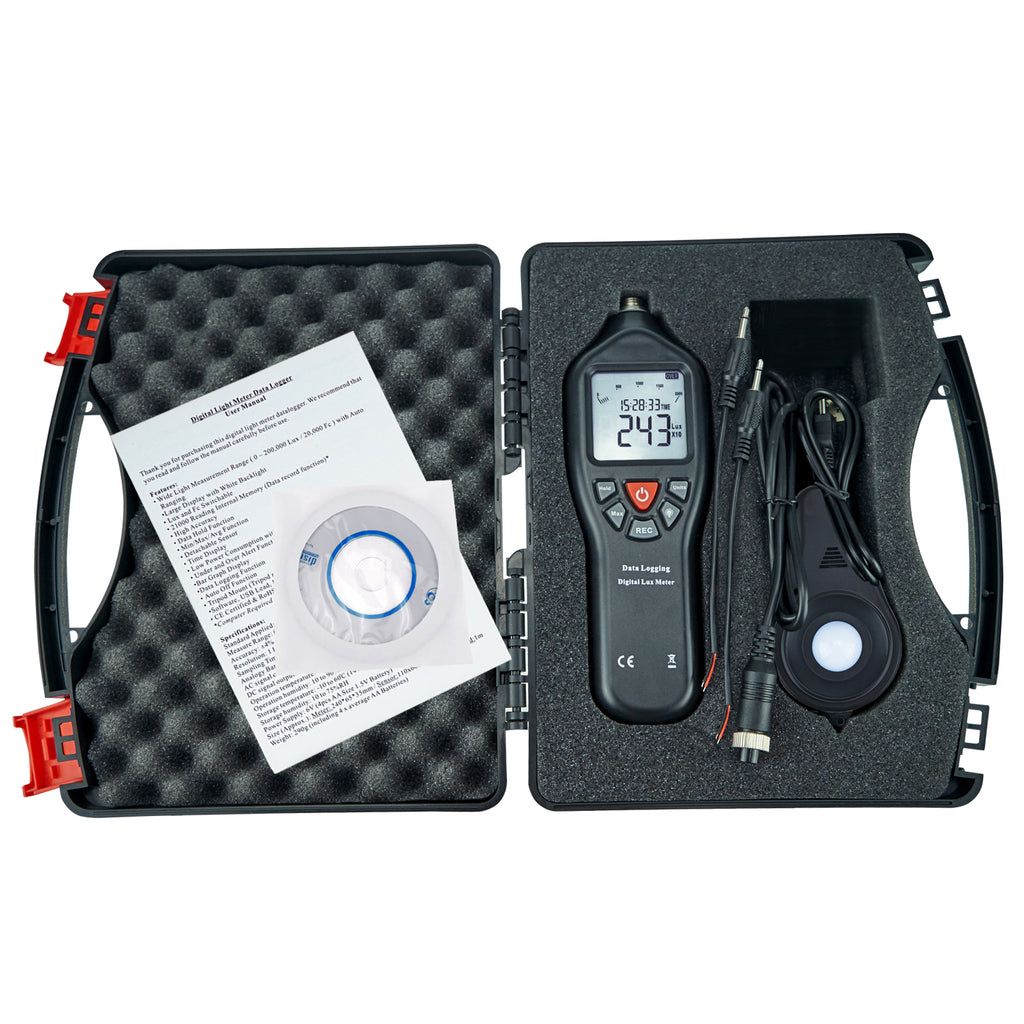 CD Software w//USB Power Cable with Data Record Function Gain Express Digital Light Meter Lux Meter Measurement Range Detachable Sensor 0 to 200,000 Lux Min//Max//Avg Functions