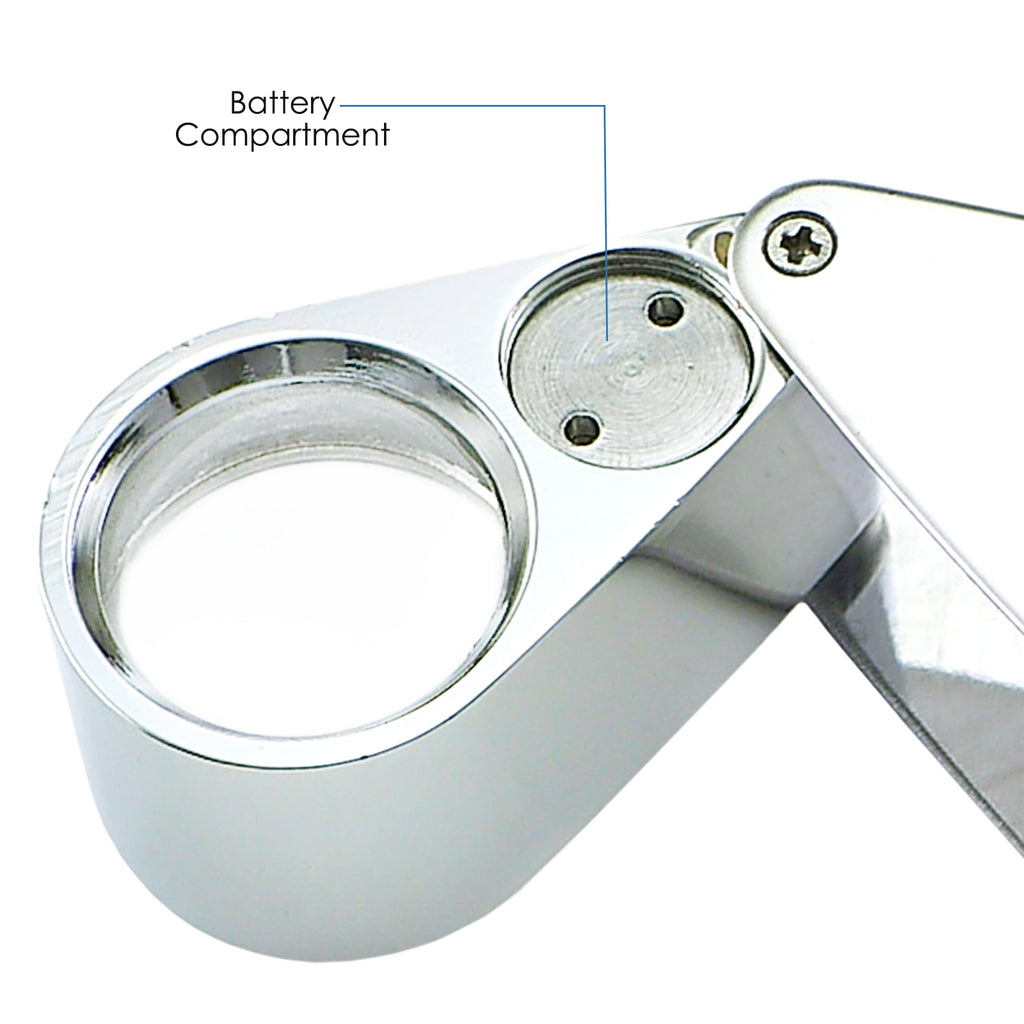 GSTK-783XX Optical Glass Magnifier 20x Magnification Magnifying LED Light Jeweler Loupe Gemstone