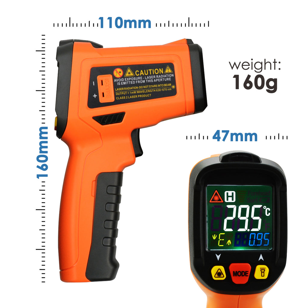 THTK-222 Digital Infrared Laser Thermometer K-Type Thermocouple -50~800°C / -58~1472°F Color Display