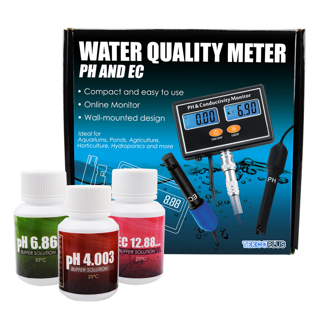 ECTK-231 PH & EC Conductivity Meter Water Quality Tester Continuous Monitor Aquaculture Hydroponics-Tekcoplus Ltd.