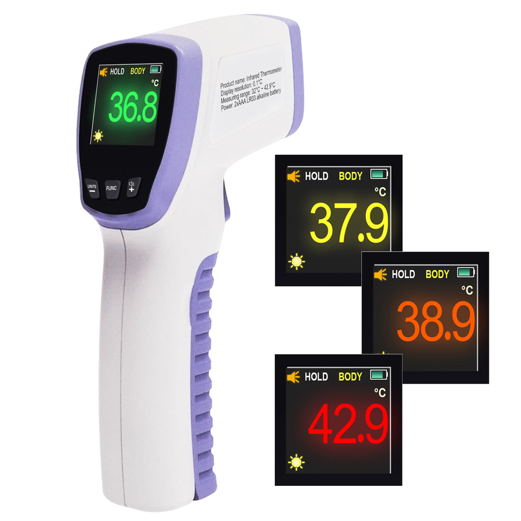 HT20 Non-Contact Infrared Forehead Body Thermometer with Color LED Display Fever Alert and Storage