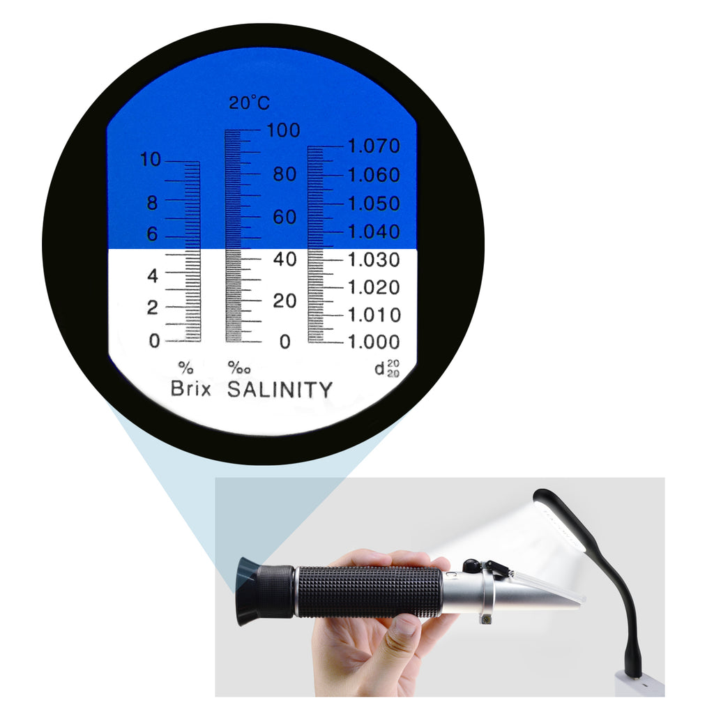 RETK-77 Salinity 0-10% Refractometer ATC Dual Scale (1.0 to 1.070 Density / 0-100ppt) Sea Water Tank-Tekcoplus Ltd.