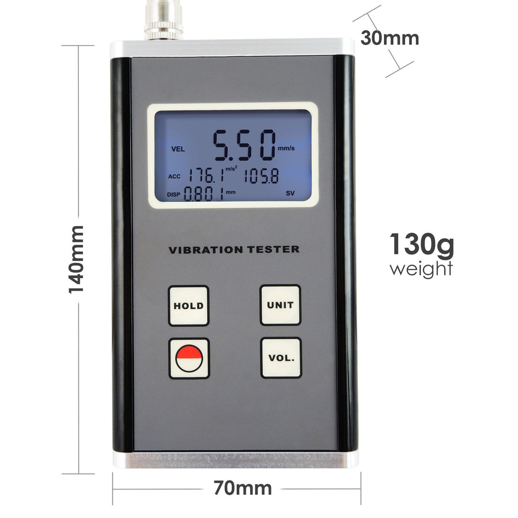 Commissioning and Predictive Maintenance Purpos Velocity and Displacement 10Hz Quality Control Digital Vibration Meter Piezoelectric Sensor Tester Measuring Acceleration 10kHz Range for Machinery