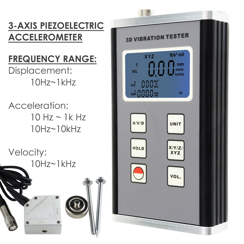 VMTK-904 3-Axis Vibration Meter Piezoelectric Sensor Displacement Velocity Acceleration Gauge Tester-Tekcoplus Ltd.
