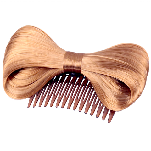 Bow Hair Extension Bowknot Brown Comb Clip Fashion Hairpiece Party