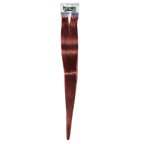 Red brown 18 inches straight pre taped european remy hair extensions