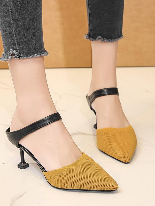 Point Toe Stiletto Heeled Mules