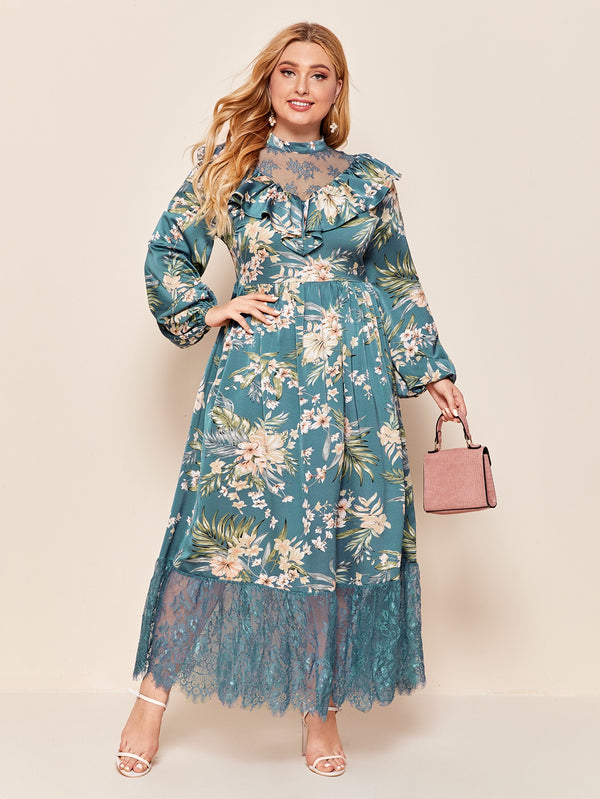 Plus Ruffle Trim Lace Yoke Floral Print Dress