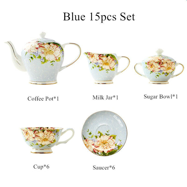 15pcs European Coffee Set, Ceramic Flower  Coffee Cup and Saucer Set