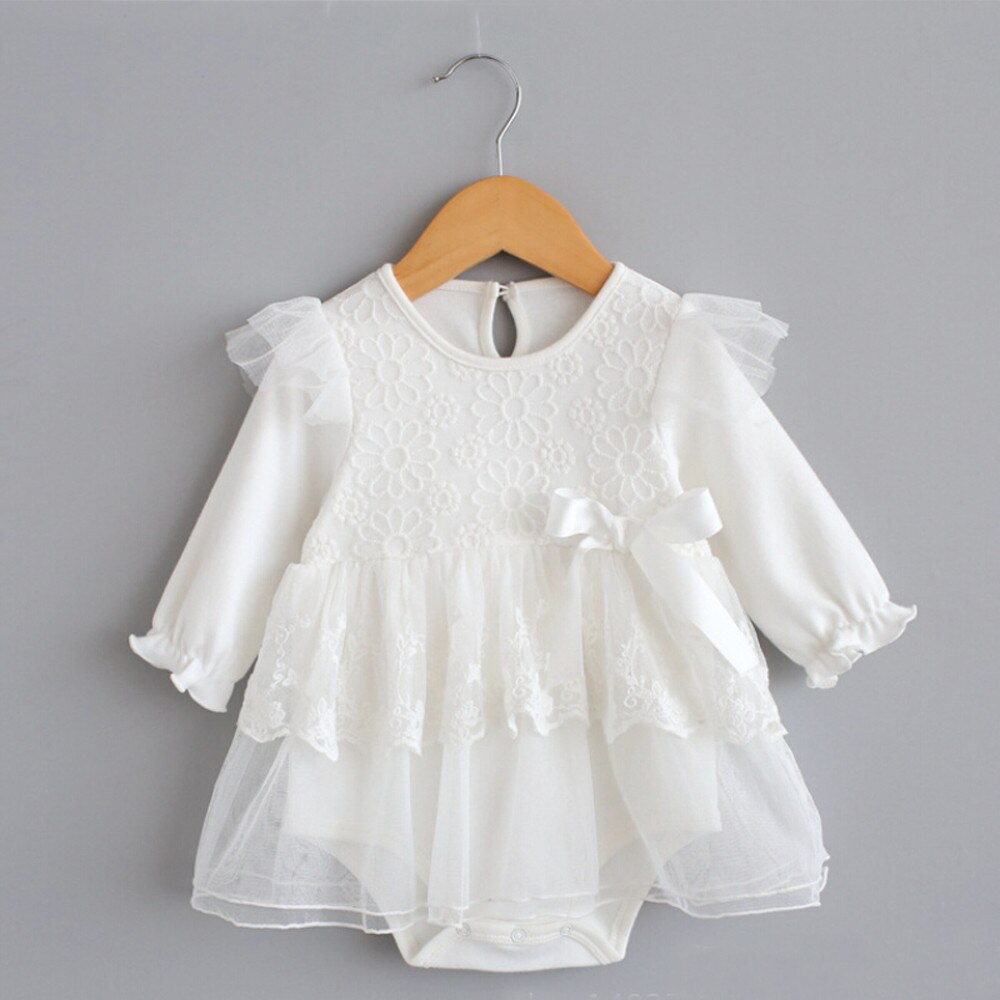 New Baby long-sleeved bow lace princess dress