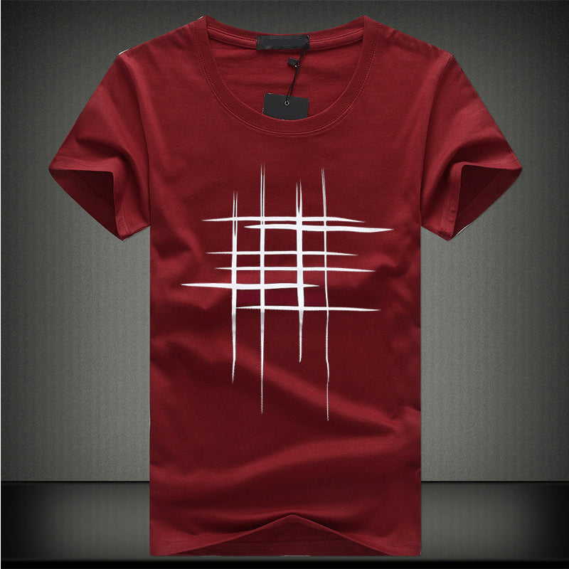 New Fashion Korean Version Of The Mens Casual Comfort T Shirt Cotton Round Neck Well Word Printing Mens T-Shirt Tops