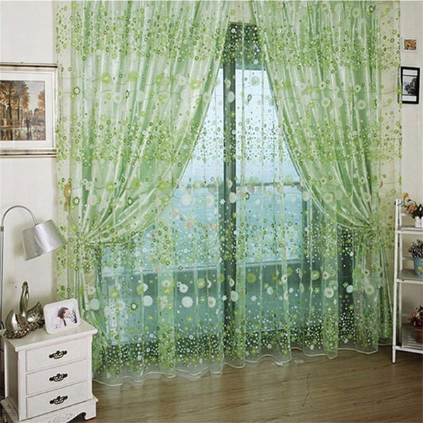 100x200cm Floral Gauze Voile Window Door Curtain For Home - Light Green