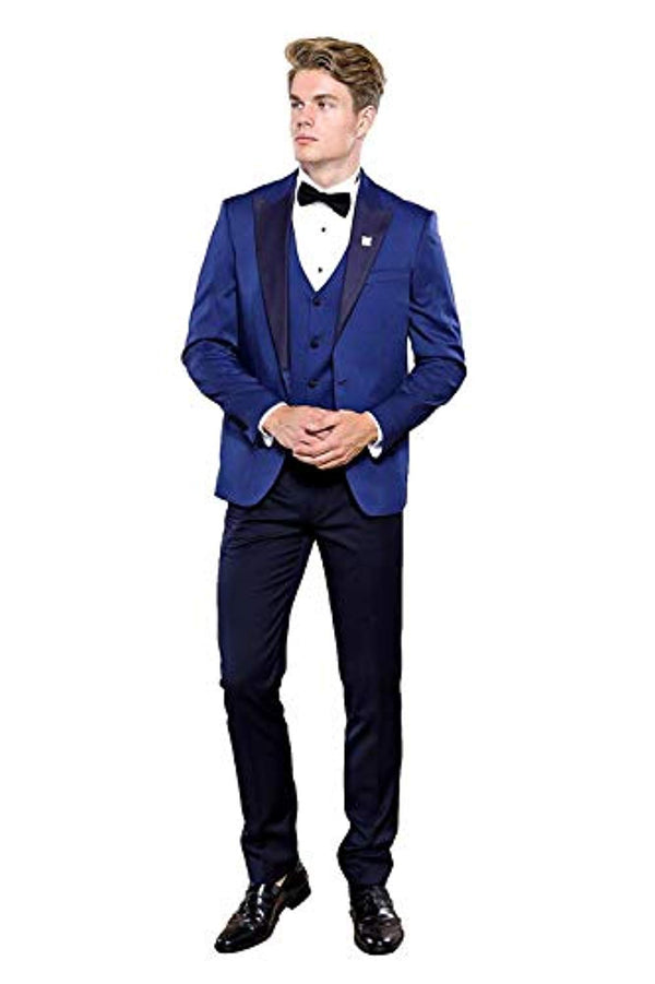 Dot-Patterned Navy Tuxedo - Be Imperial