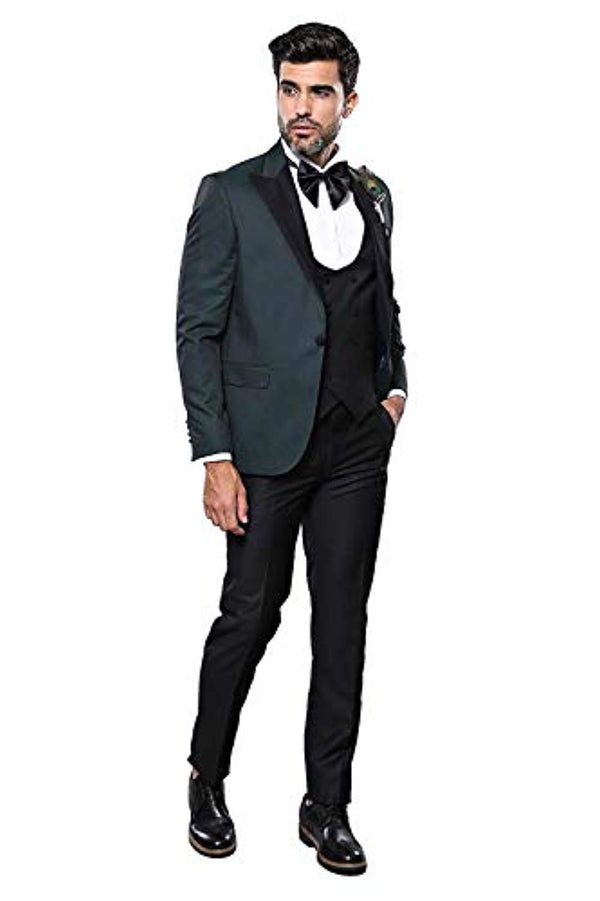 Dot Patterned Dark Green Tuxedo - Be Imperial
