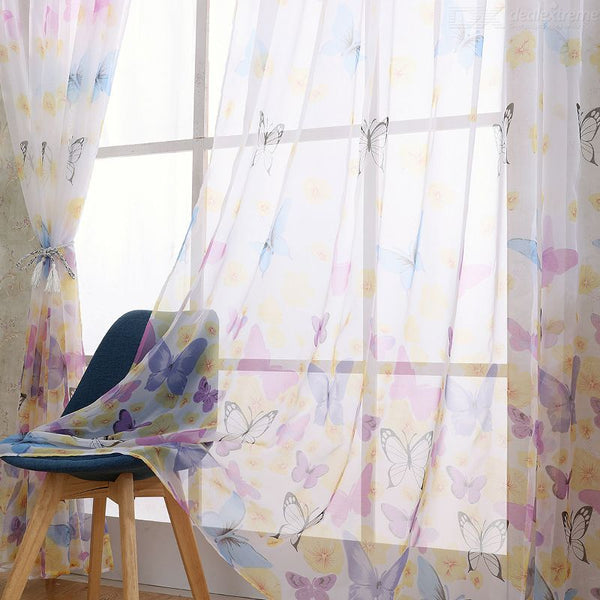Butterfly Printed Gauze Curtain Durable And Washable Curtain  (1m2m)