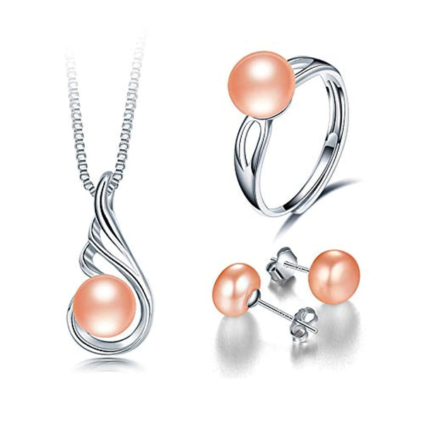 100% Natural Freshwater Pearl Necklace, Earrings & Ring – 925 Sterling Silver W/Unique Design