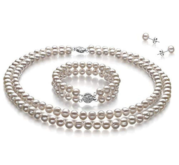 925 Sterling Silver and  White 6-7mm Cultured Pearl Set
