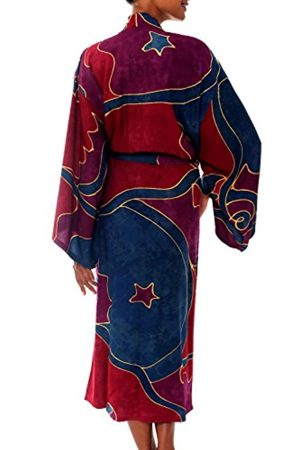 Red and Purple Women's  Long Robe, (One Size Fits Most)