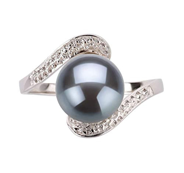 Black 9-10mm AA Quality Freshwater Pearl with  925 Sterling Silver