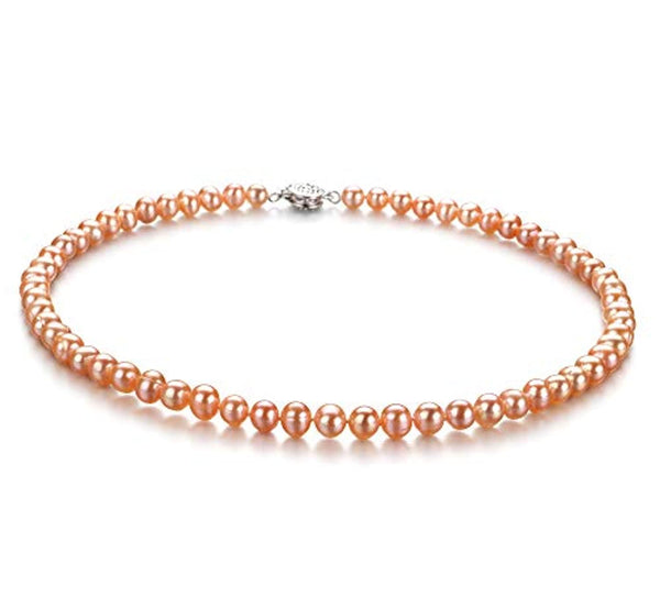 Pink 6-7mm A Quality Freshwater Pearls and  925 Sterling Silver  Necklace