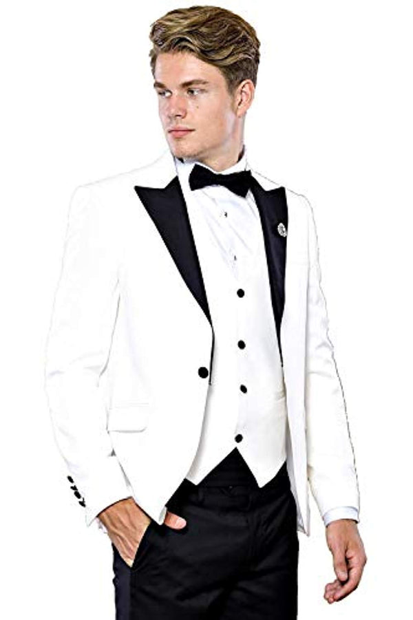3 Piece White Tuxedo - Be Imperial